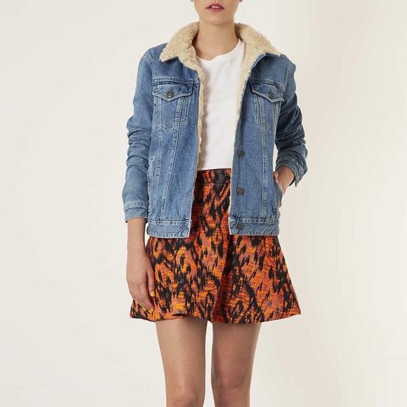 100% high quality new arrivals exclusive shoes Topshop Jackets & Coats | Moto Fleece Lined Denim Jacket Us 10 New ...